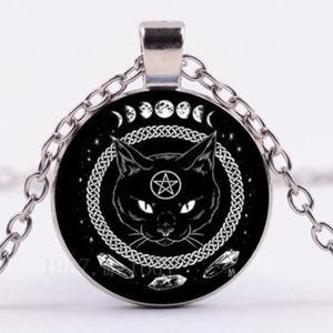 Jewelry - Black Cat Pentagram Goth Witch Pendant Necklace